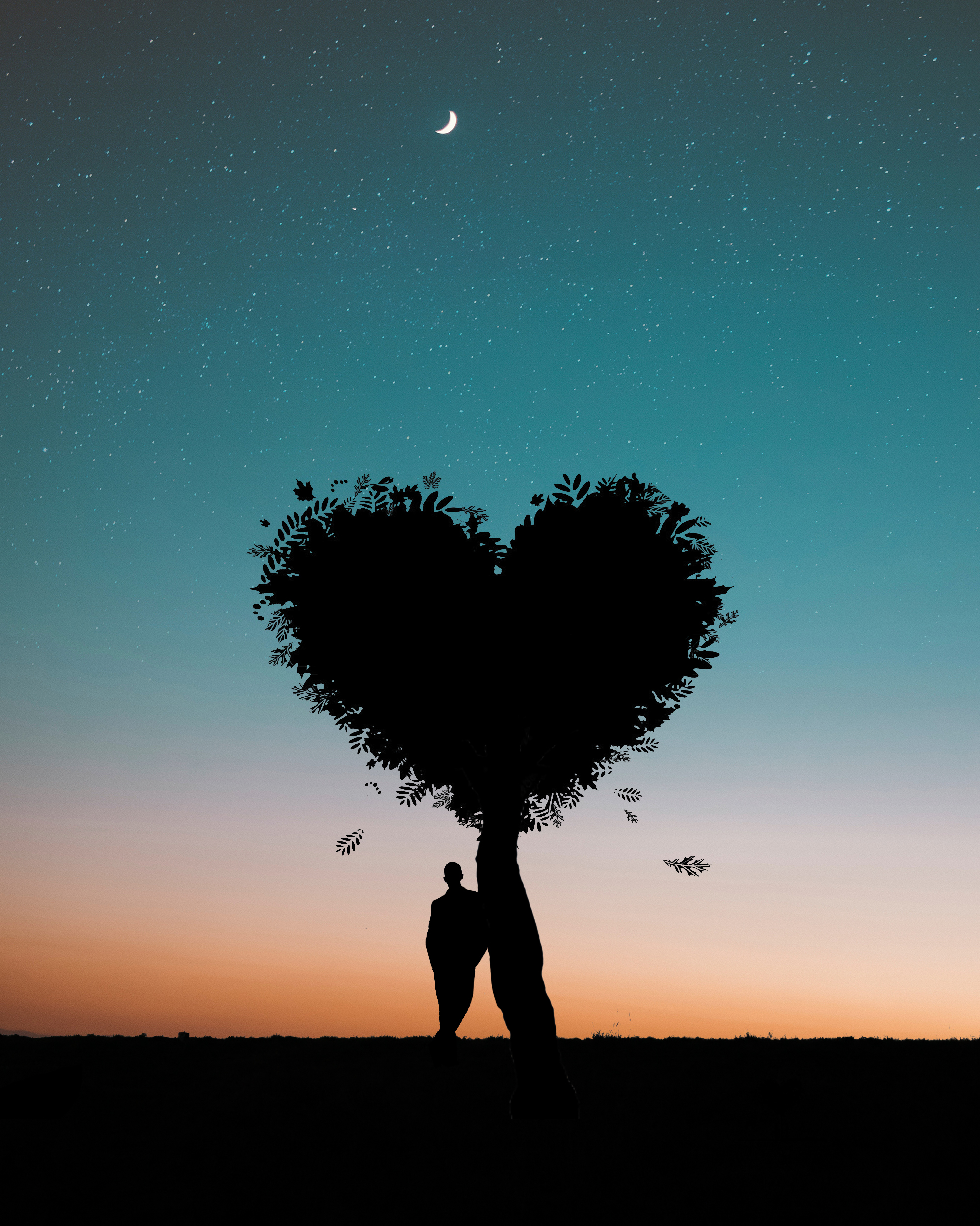 silhouette-photo-of-man-leaning-on-heart-shaped-tree-744667